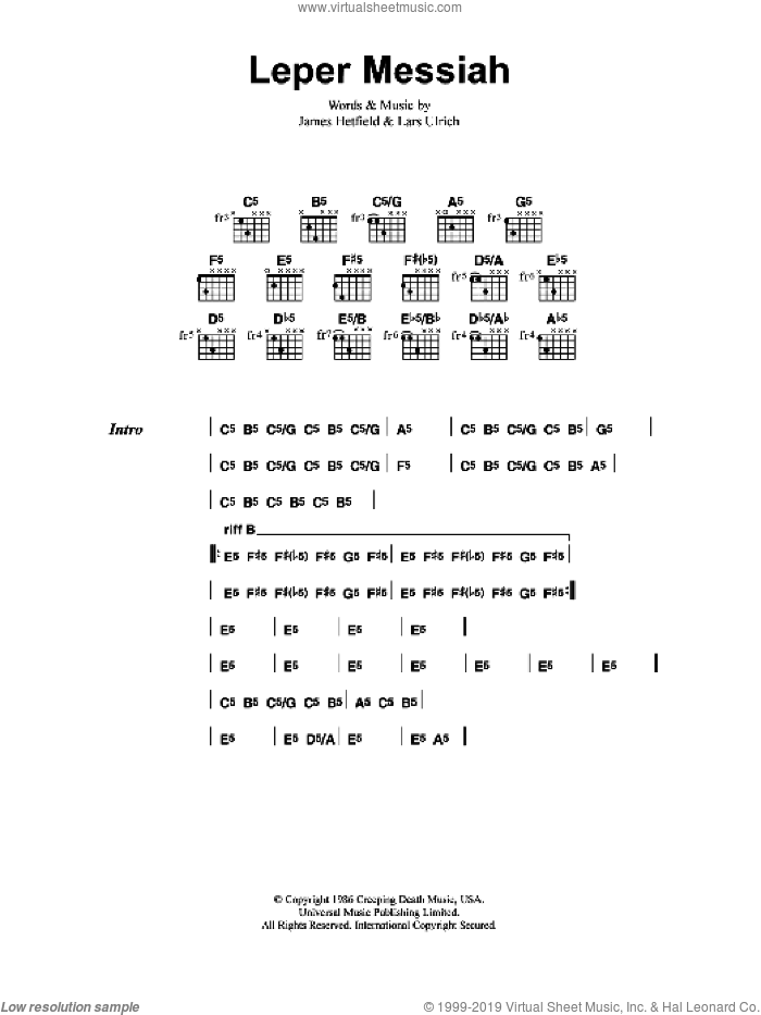 Leper Messiah sheet music for guitar (chords) by James Hetfield, Metallica and Lars Ulrich. Score Image Preview.