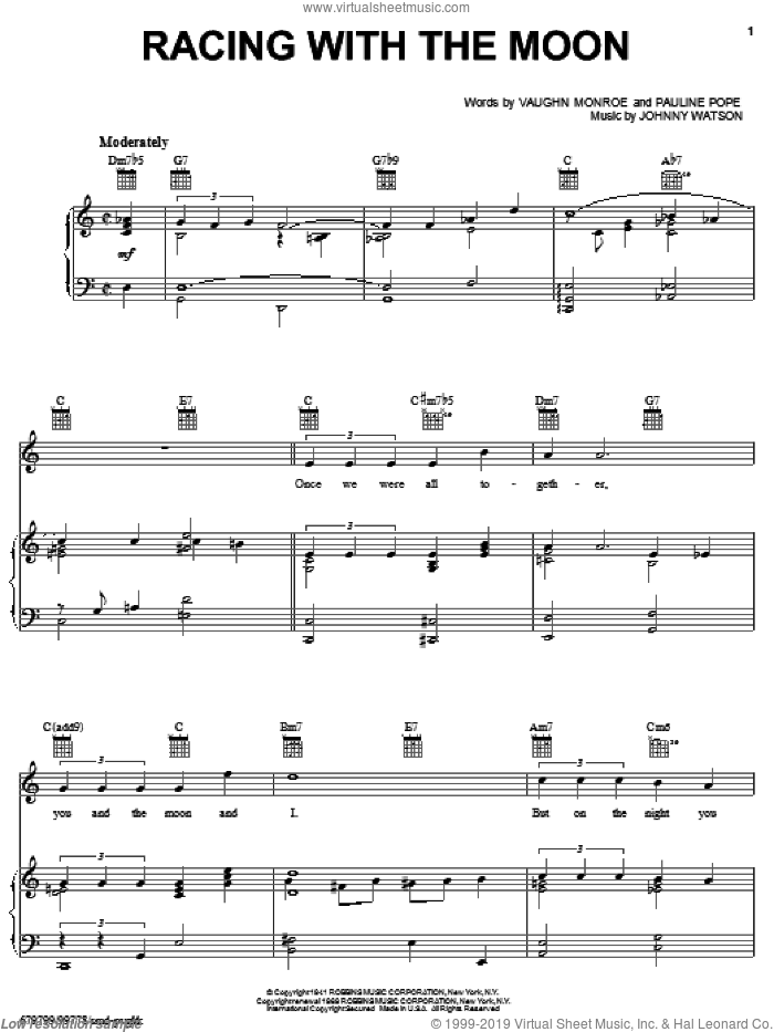 Racing With The Moon sheet music for voice, piano or guitar by Vaughn Monroe and Johnny Watson, intermediate. Score Image Preview.