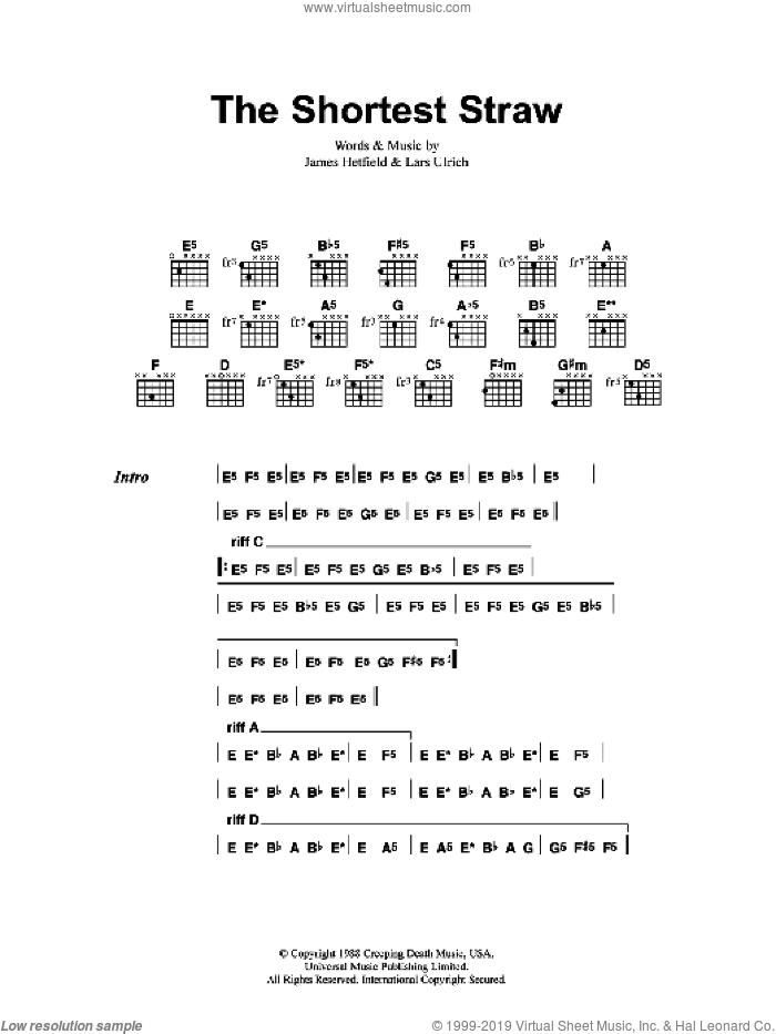 The Shortest Straw sheet music for guitar (chords) by Metallica, James Hetfield and Lars Ulrich, intermediate skill level