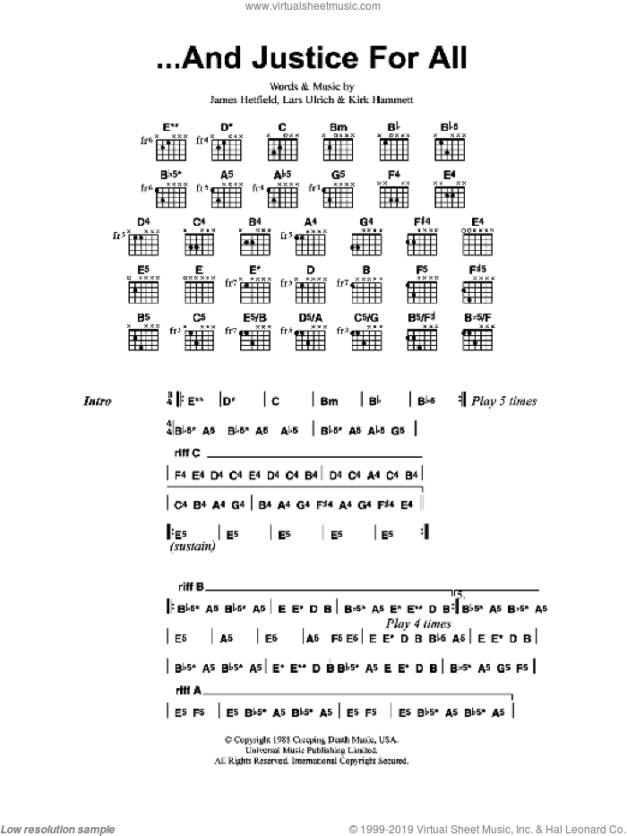 ...And Justice For All sheet music for guitar (chords) by James Hetfield and Lars Ulrich. Score Image Preview.