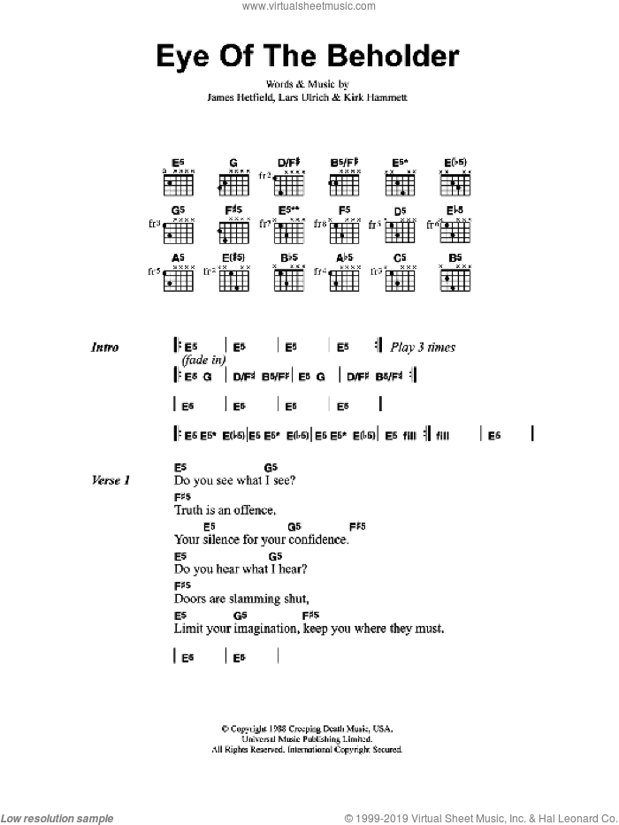 Eye Of The Beholder sheet music for guitar (chords) by Metallica, James Hetfield, Kirk Hammett and Lars Ulrich, intermediate. Score Image Preview.