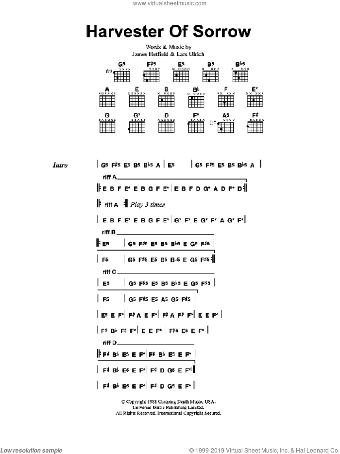 Harvester Of Sorrow sheet music for guitar (chords) by Metallica, intermediate. Score Image Preview.