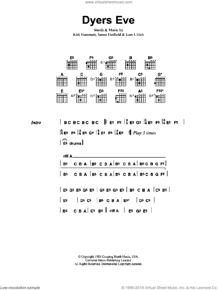 Dyer's Eve sheet music for guitar (chords) by Metallica, James Hetfield, Kirk Hammett and Lars Ulrich, intermediate skill level