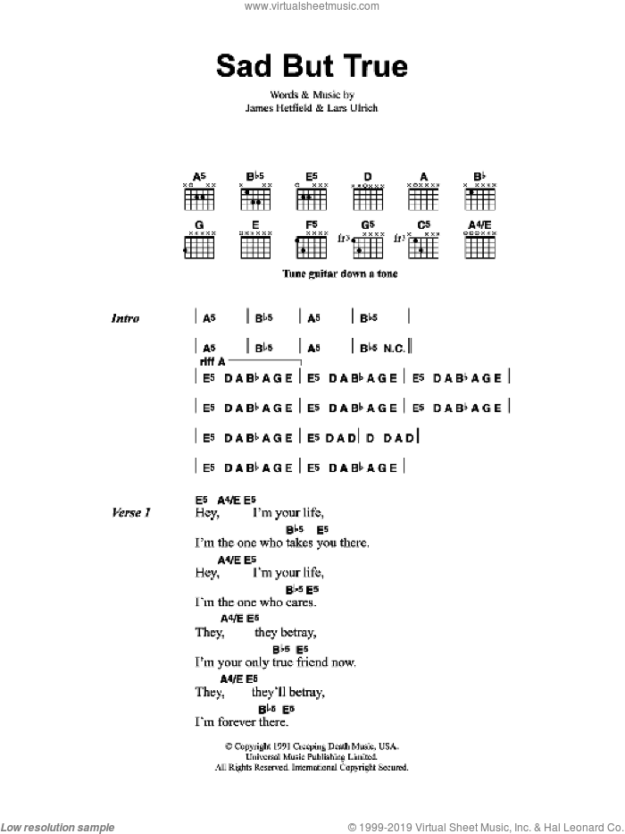 Sad But True sheet music for guitar (chords) by James Hetfield, Metallica and Lars Ulrich. Score Image Preview.