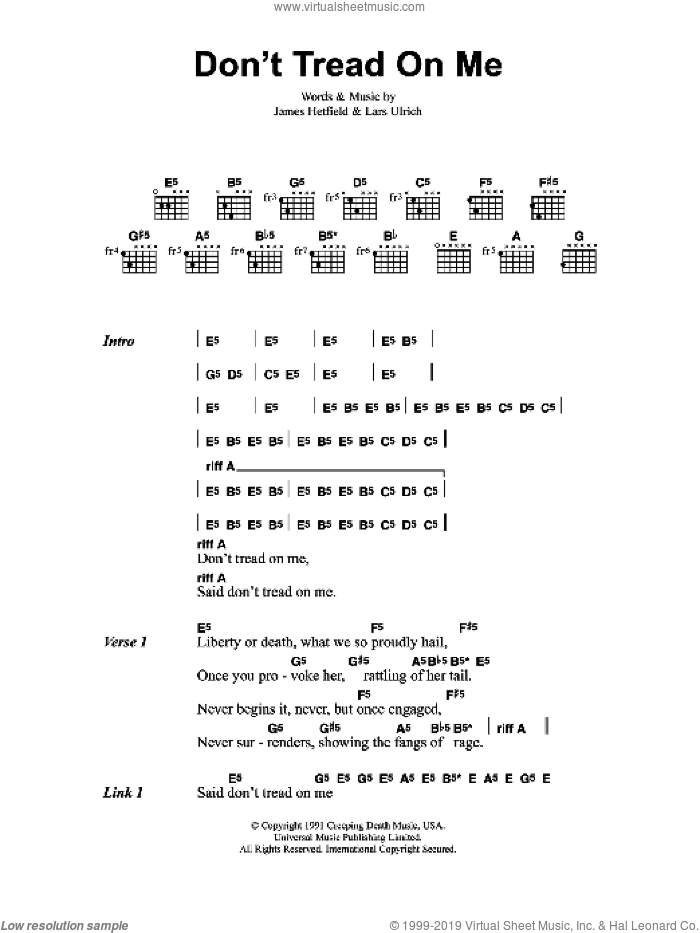 Don't Tread On Me sheet music for guitar (chords) by Metallica, James Hetfield and Lars Ulrich, intermediate. Score Image Preview.