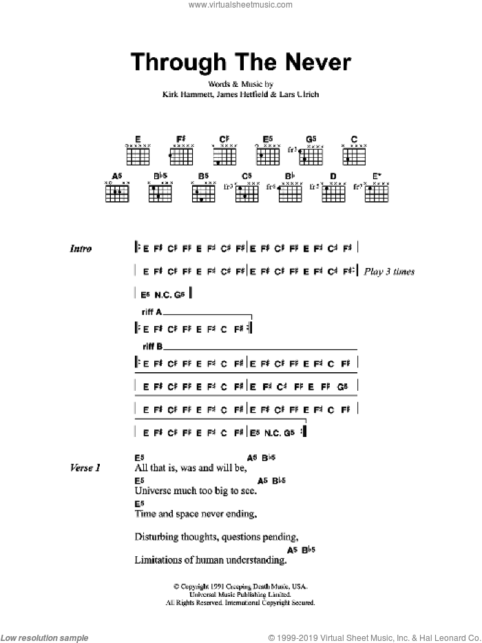 Through The Never sheet music for guitar (chords) by Metallica, intermediate. Score Image Preview.