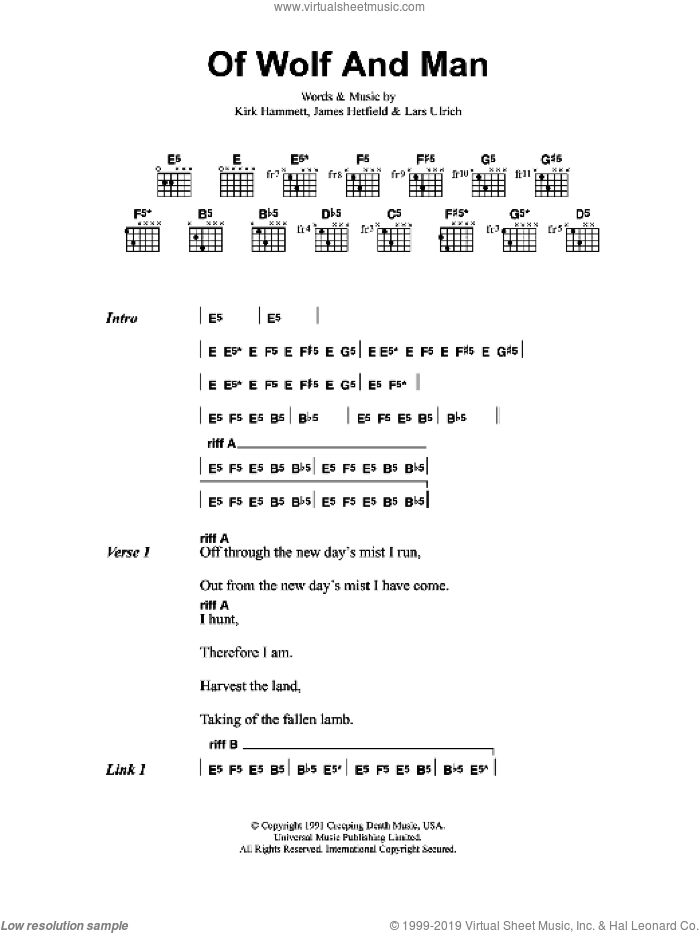 Of Wolf And Man sheet music for guitar (chords) by Metallica, intermediate. Score Image Preview.