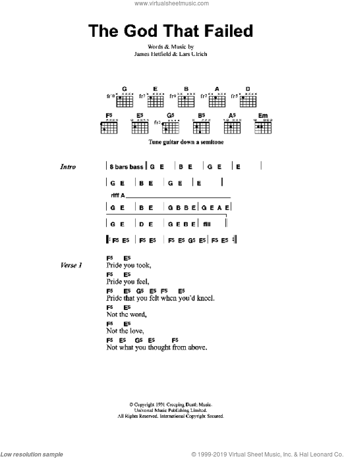 The God That Failed sheet music for guitar (chords) by James Hetfield and Lars Ulrich. Score Image Preview.