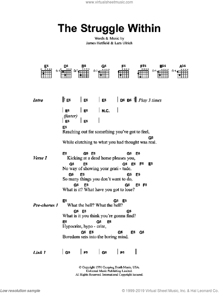 The Struggle Within sheet music for guitar (chords) by Metallica, James Hetfield and Lars Ulrich, intermediate skill level