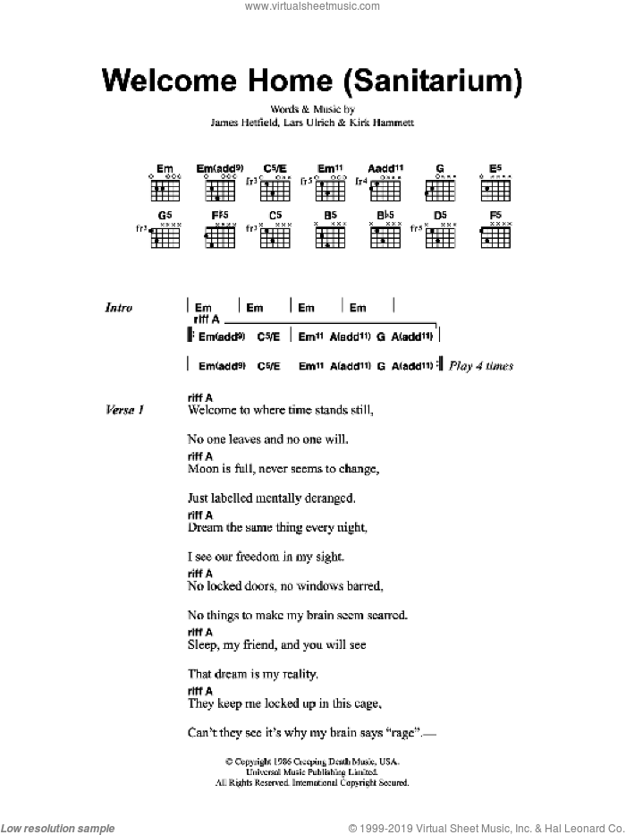 Welcome Home (Sanitarium) sheet music for guitar (chords) by Metallica. Score Image Preview.