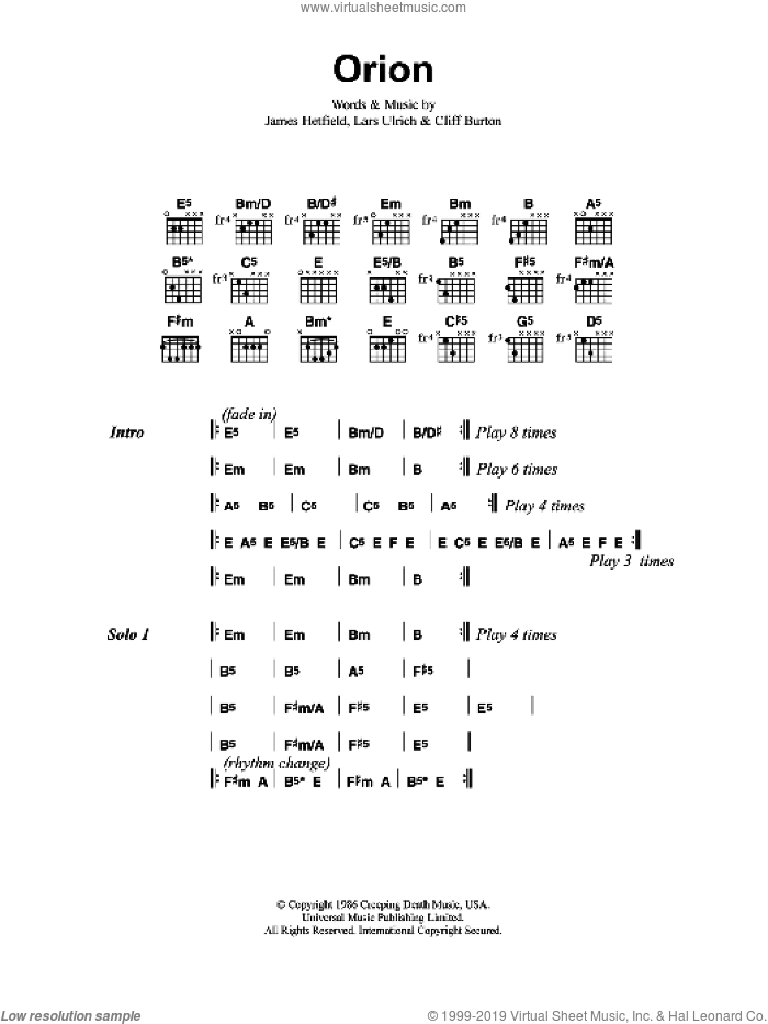 Orion sheet music for guitar (chords) by Metallica, Cliff Burton, James Hetfield and Lars Ulrich, intermediate skill level