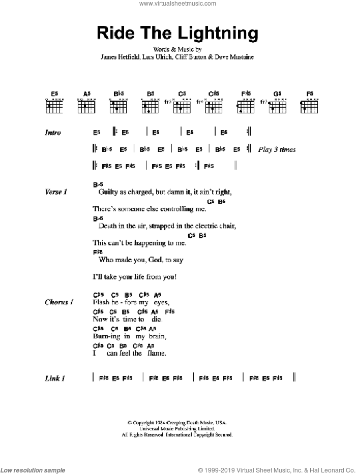 Ride The Lightning sheet music for guitar (chords) by Cliff Burton, Dave Mustaine, James Hetfield and Lars Ulrich. Score Image Preview.