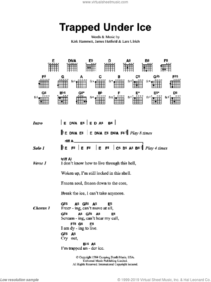Trapped Under Ice sheet music for guitar (chords) by James Hetfield and Lars Ulrich. Score Image Preview.