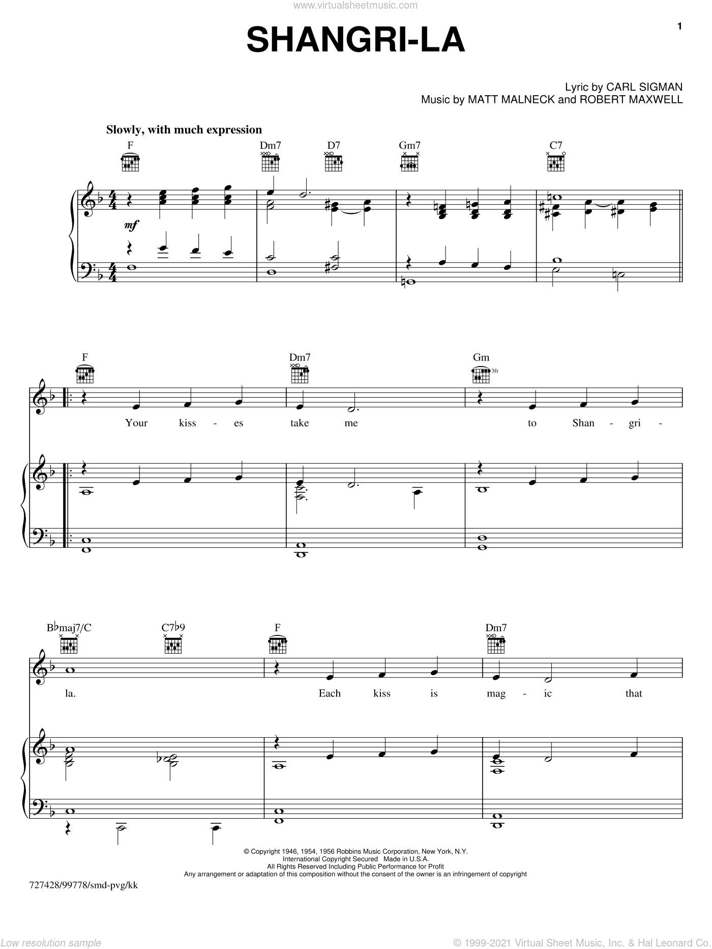 Shangri-la sheet music for voice, piano or guitar by Carl Sigman, Matt Malneck and Robert Maxwell. Score Image Preview.