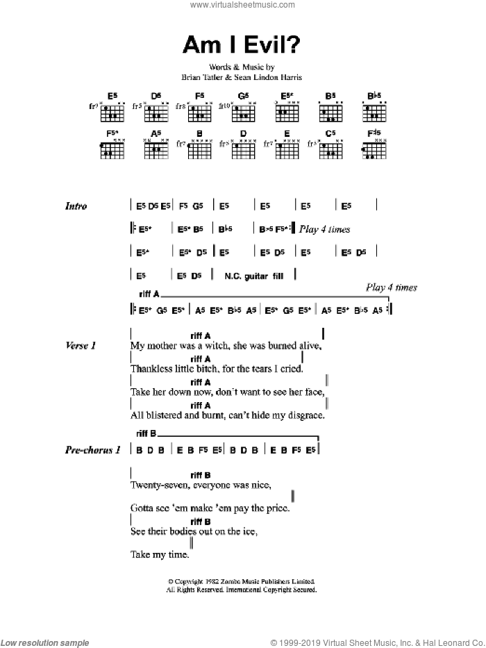Am I Evil? sheet music for guitar (chords) by Metallica. Score Image Preview.