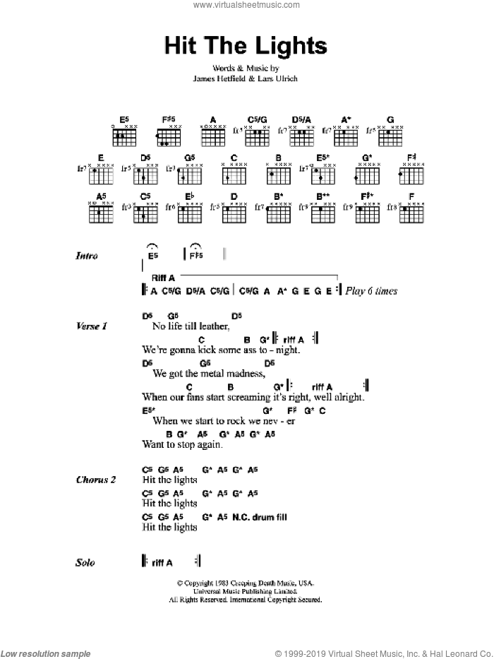 Hit The Lights sheet music for guitar (chords) by James Hetfield, Metallica and Lars Ulrich. Score Image Preview.