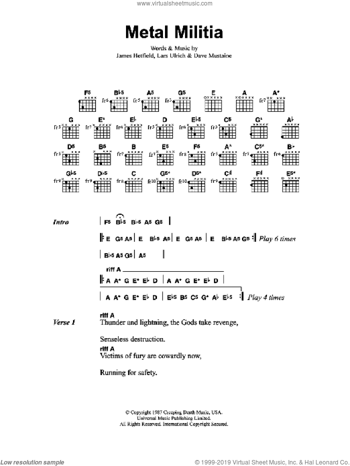 Metal Militia sheet music for guitar (chords) by Lars Ulrich, Dave Mustaine and James Hetfield. Score Image Preview.