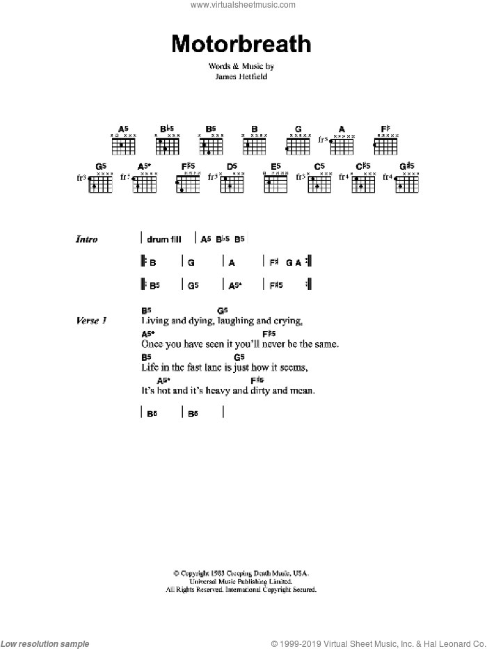 Motorbreath sheet music for guitar (chords) by Metallica and James Hetfield, intermediate skill level