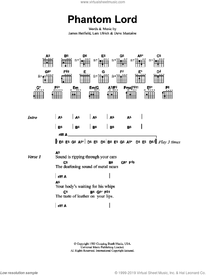 Phantom Lord sheet music for guitar (chords) by Dave Mustaine, Metallica, James Hetfield and Lars Ulrich. Score Image Preview.