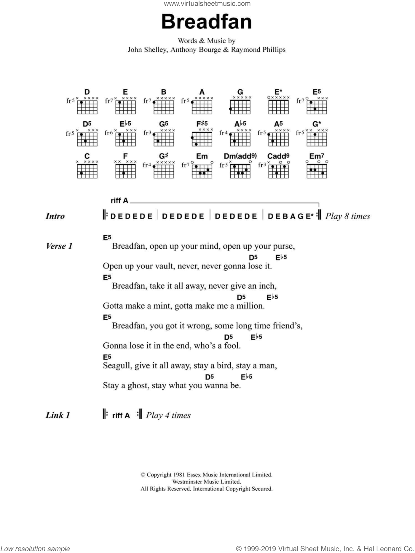 Breadfan sheet music for guitar (chords) by Anthony Bourge, Metallica and Raymond Phillips. Score Image Preview.