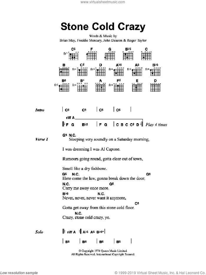 Stone Cold Crazy sheet music for guitar (chords) by Metallica and Freddie Mercury, intermediate. Score Image Preview.