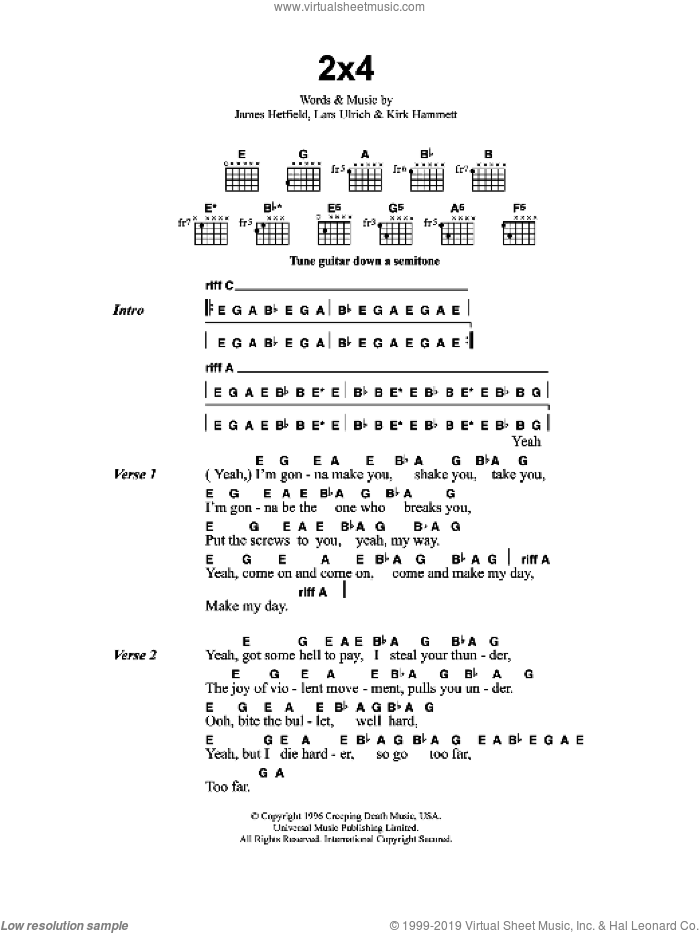 2x4 sheet music for guitar (chords) by Metallica, James Hetfield, Kirk Hammett and Lars Ulrich, intermediate