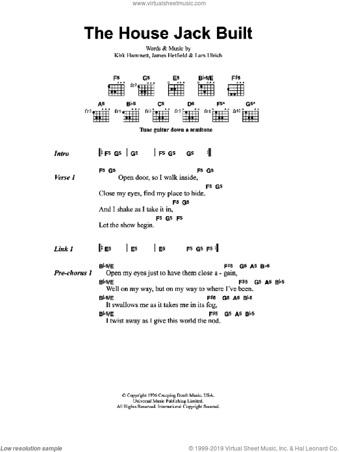 The House Jack Built sheet music for guitar (chords) by James Hetfield and Lars Ulrich. Score Image Preview.