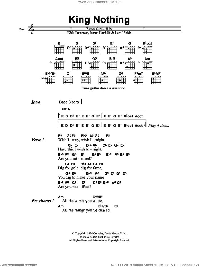 King Nothing sheet music for guitar (chords) by Metallica, James Hetfield, Kirk Hammett and Lars Ulrich, intermediate skill level