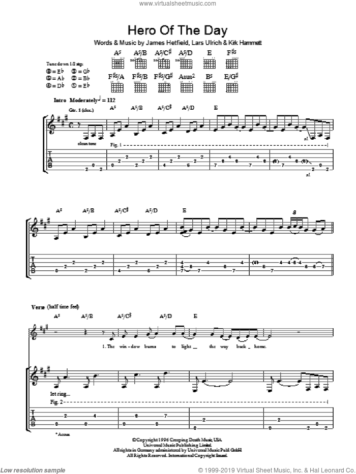 Hero Of The Day sheet music for guitar (tablature) by Metallica, James Hetfield, Kirk Hammett and Lars Ulrich, intermediate