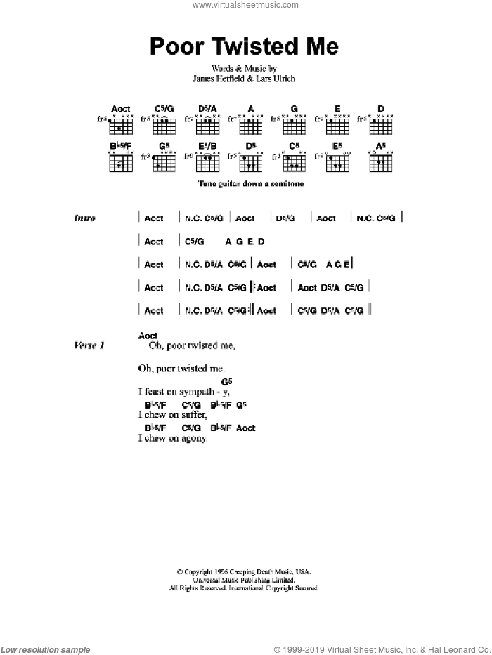 Poor Twisted Me sheet music for guitar (chords) by Metallica, James Hetfield and Lars Ulrich, intermediate skill level
