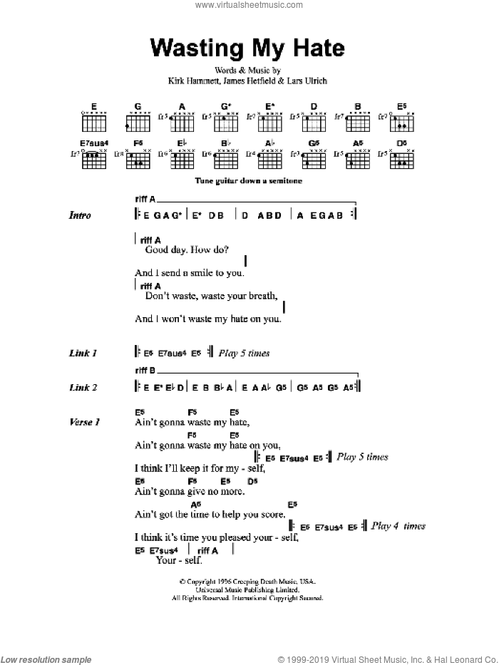 Wasting My Hate sheet music for guitar (chords) by James Hetfield, Metallica and Lars Ulrich. Score Image Preview.