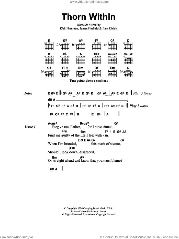 Thorn Within sheet music for guitar (chords) by Metallica. Score Image Preview.
