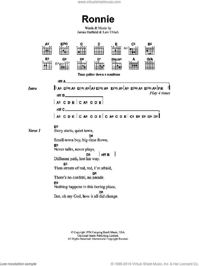 Ronnie sheet music for guitar (chords) by Metallica. Score Image Preview.