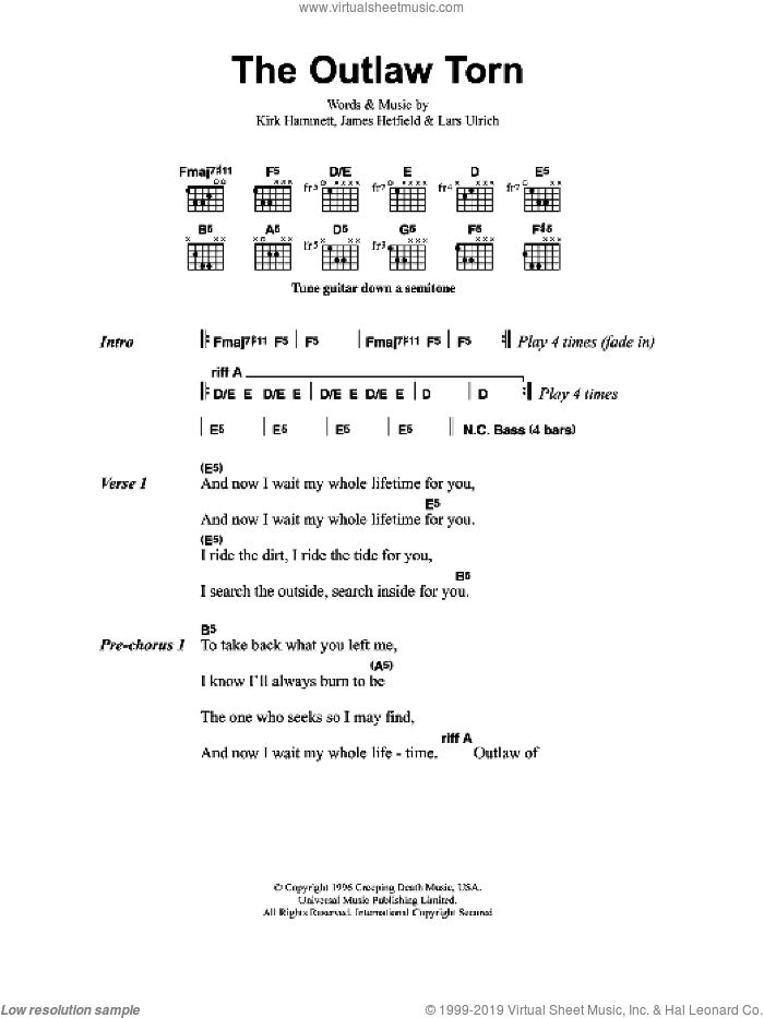 Metallica - The Outlaw Torn sheet music for guitar (chords) [PDF]