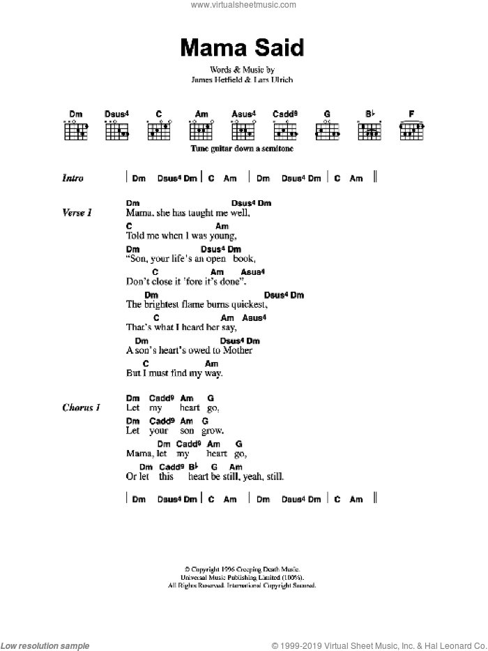 Mama Said sheet music for guitar (chords) by Metallica, James Hetfield and Lars Ulrich, intermediate