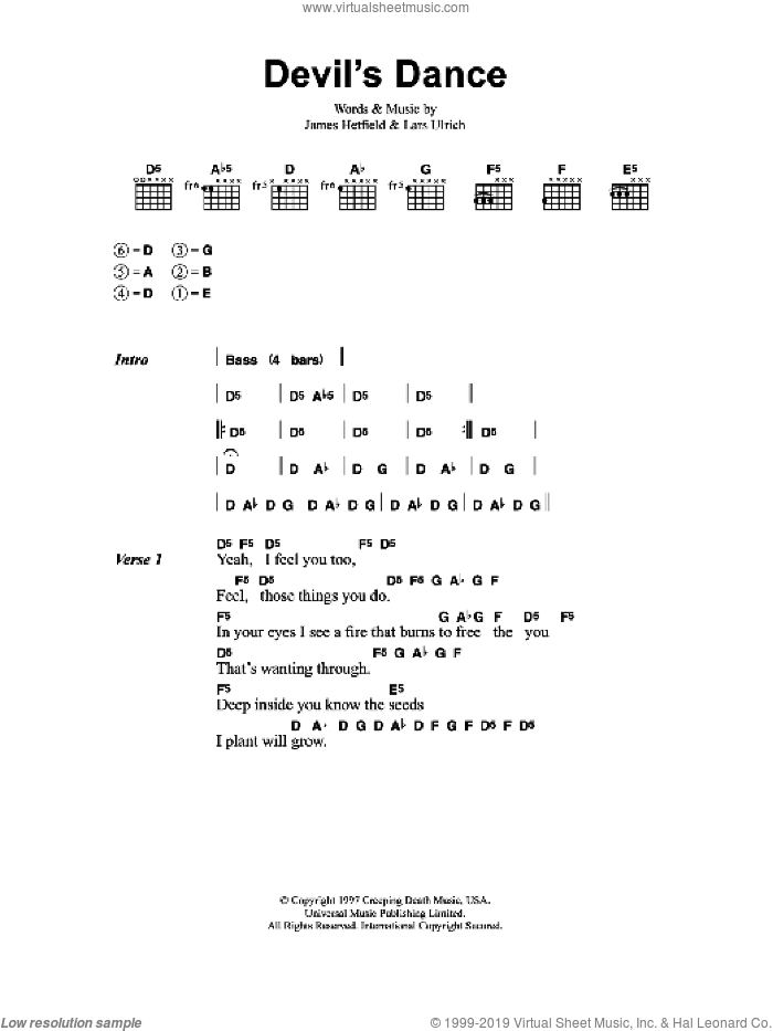Devil's Dance sheet music for guitar (chords) by James Hetfield and Lars Ulrich. Score Image Preview.