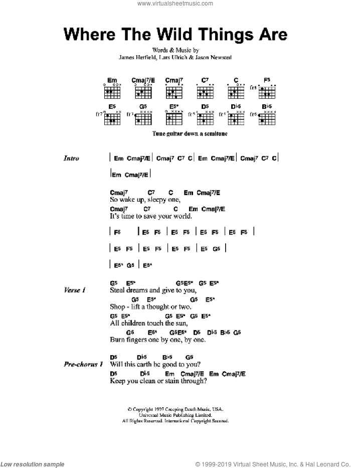 Where The Wild Things Are sheet music for guitar (chords) by Metallica, James Hetfield, Jason Newsted and Lars Ulrich, intermediate skill level