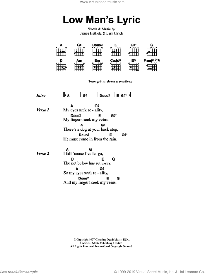 Low Man's Lyric sheet music for guitar (chords) by Metallica, James Hetfield and Lars Ulrich, intermediate skill level