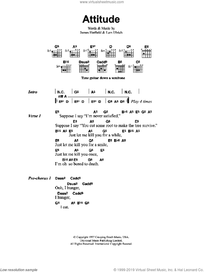 Attitude sheet music for guitar (chords) by James Hetfield, Metallica and Lars Ulrich. Score Image Preview.