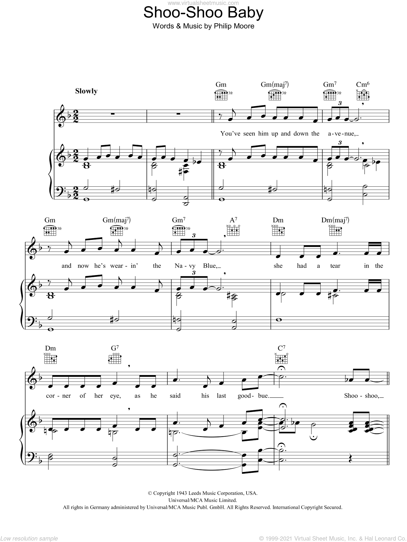 Shoo-Shoo Baby sheet music for voice, piano or guitar by Philip Moore. Score Image Preview.