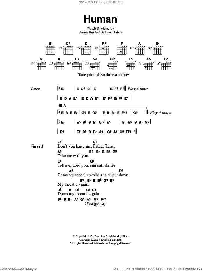 Human sheet music for guitar (chords) by Metallica. Score Image Preview.