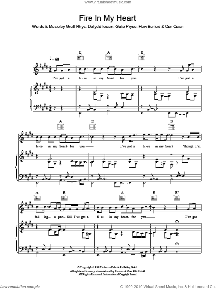 Fire In My Heart sheet music for voice, piano or guitar by Cian Ciaran