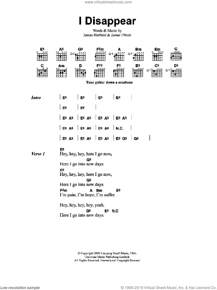 I Disappear sheet music for guitar (chords) by Metallica, James Hetfield and Lars Ulrich, intermediate