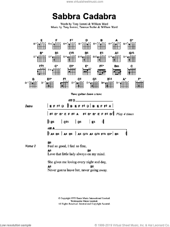 Sabbra Cadabra sheet music for guitar (chords) by Terence Butler, Tony Iommi and William Ward. Score Image Preview.
