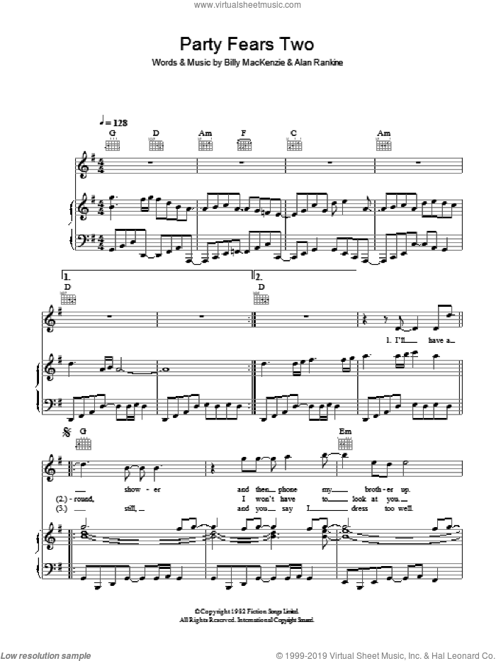 Party Fears Two sheet music for voice, piano or guitar by Alan Rankine and Billy MacKenzie. Score Image Preview.