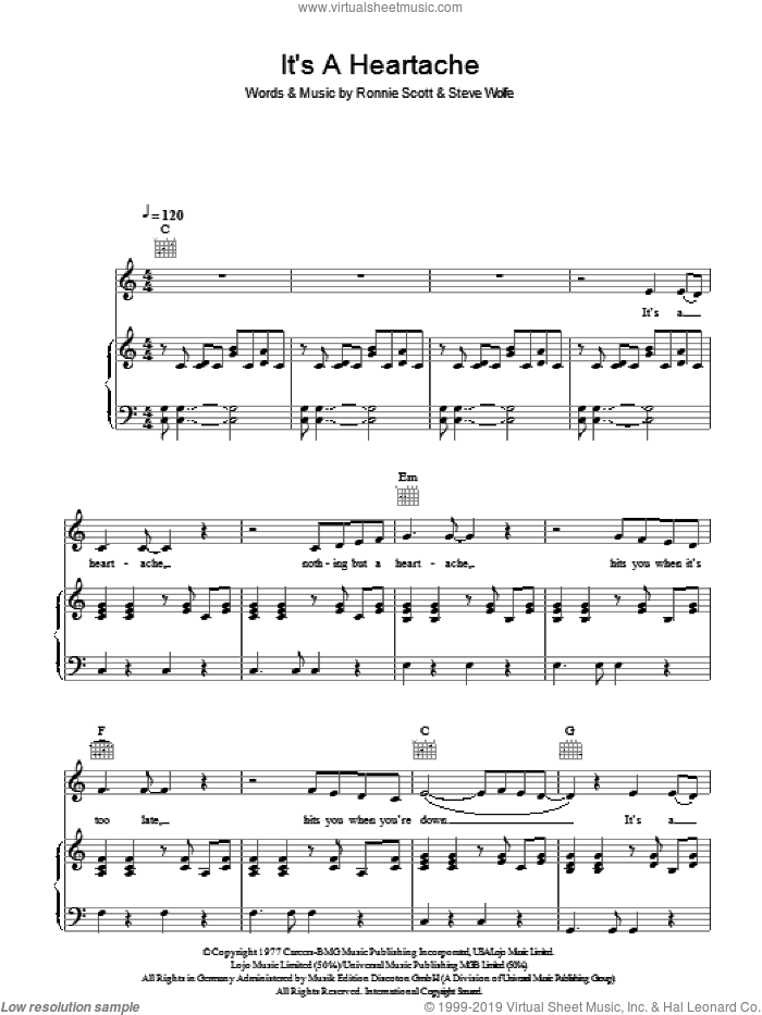 It's A Heartache sheet music for voice, piano or guitar by Ronnie Scott, Bonnie Tyler, Juice Newton and Steve Wolfe. Score Image Preview.
