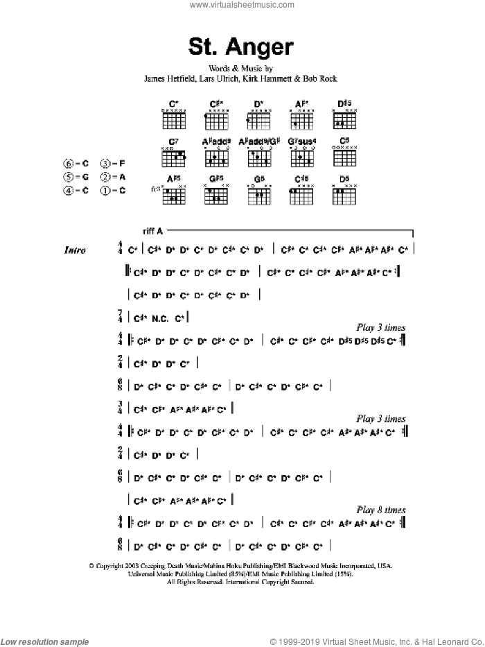 St. Anger sheet music for guitar (chords) by Bob Rock, Metallica, James Hetfield and Lars Ulrich. Score Image Preview.