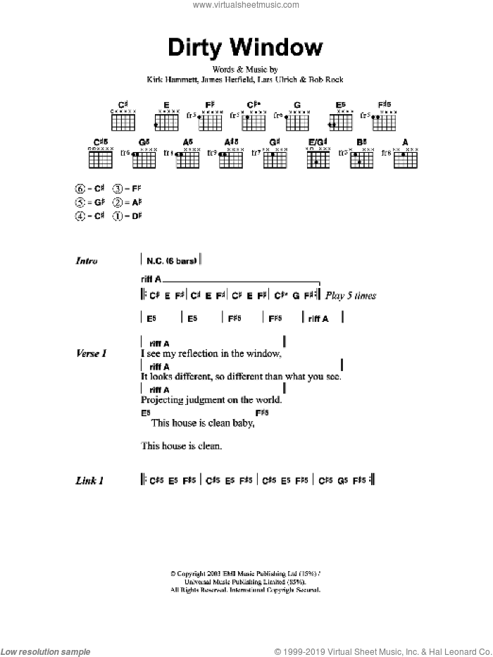 Dirty Window sheet music for guitar (chords) by Metallica, Bob Rock, James Hetfield, Kirk Hammett and Lars Ulrich, intermediate skill level