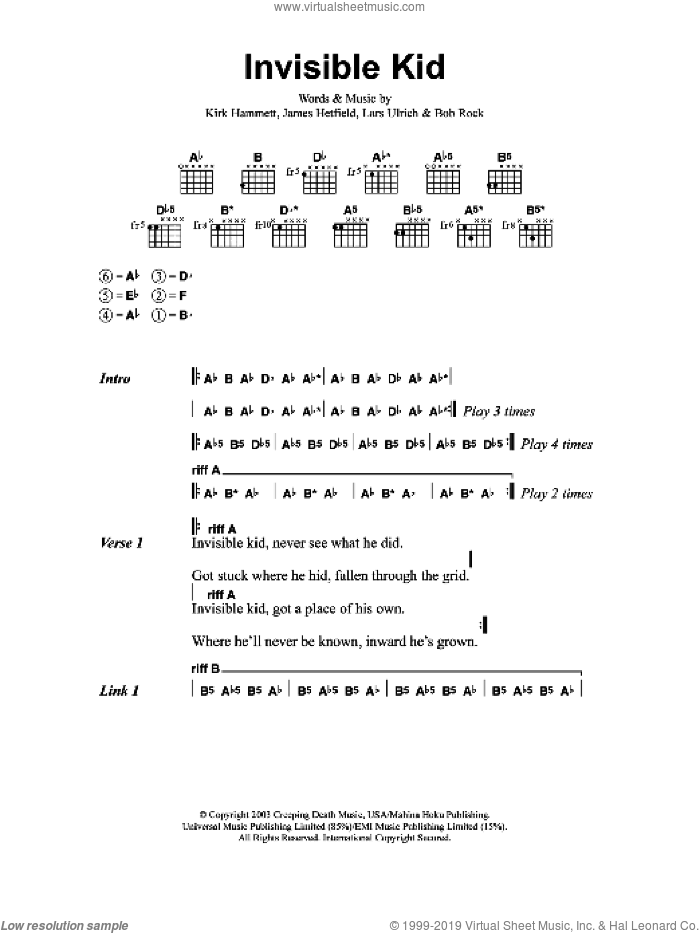 Invisible Kid sheet music for guitar (chords) by Bob Rock