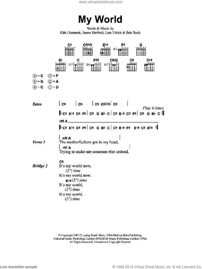 My World sheet music for guitar (chords) by Metallica, intermediate. Score Image Preview.